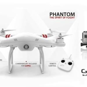 DJI Phantom Aerial UAV Drone Quadcopter with GoPro Hero3+ Black Edition Camera and GoPro Mount Kit